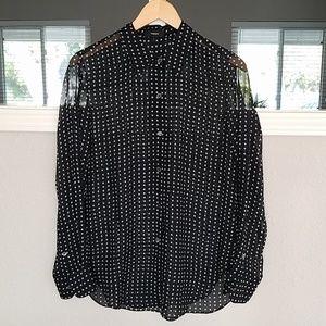 Theory Squared Print Chiffon Shirt Sz. S